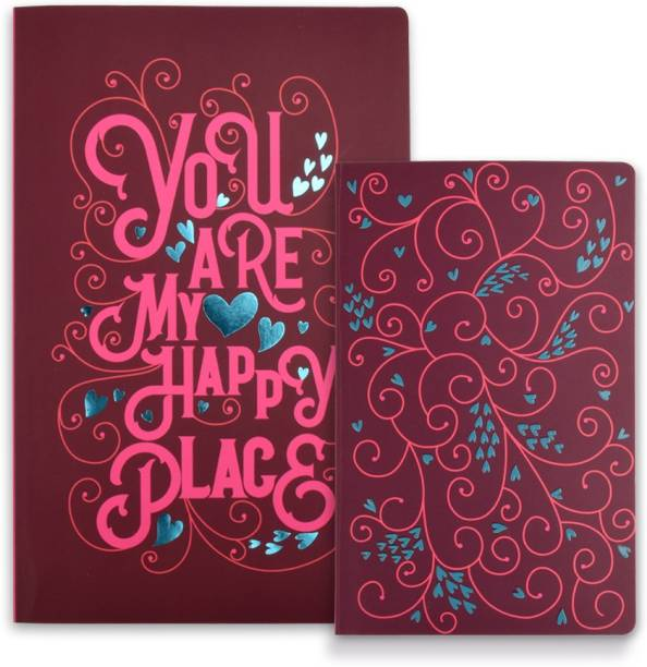 doodle Happy Place Twin Notebook (Set Of 2) A5 Notebook Ruled 160 Pages