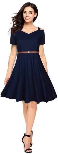RACHANA FASHION Women Fit and Flare Blue Dress