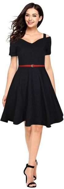 RACHANA FASHION Women Fit and Flare Black Dress