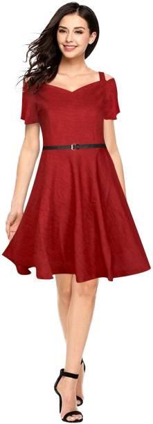 RACHANA FASHION Women Fit and Flare Maroon Dress