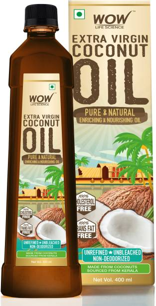 WOW Life Science Extra Virgin Coconut Oil Pure & Natural, Enriching & Nourishing Oil - 400mL Coconut Oil Plastic Bottle