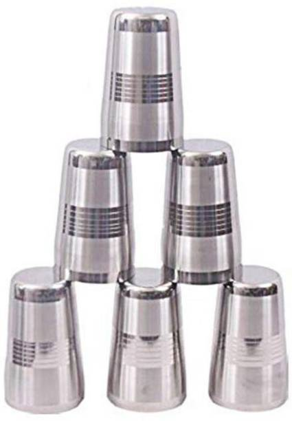 Crystalware (Pack of 6) Imperial Quality Stainless Steel Heavy Gauge Glass Set Glass Set