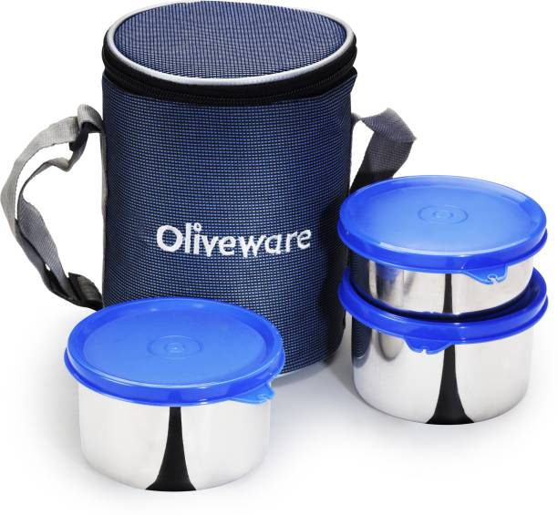 Oliveware Angelic Lunch Box | Stainless Steel Containers | Idle for Office Use | Insulated Fabric Bag | Leak Proof & Microwave Safe | Full Meal & Easy to Carry - Blue 3 Containers Lunch Box