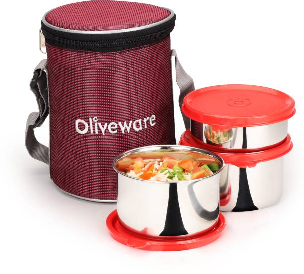 Oliveware Angelic Lunch Box | Stainless Steel Containers | Idle for Office Use | Insulated Fabric Bag | Leak Proof & Microwave Safe | Full Meal & Easy to Carry - Red 3 Containers Lunch Box