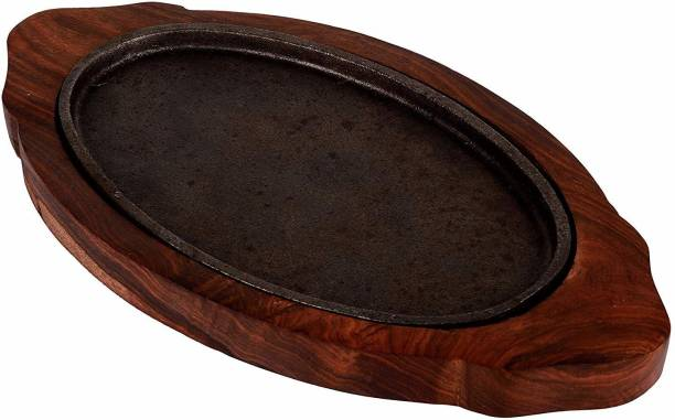 Alhind Handicraft Platter For All Wooden Platters, Brown01 Sizzler Tray