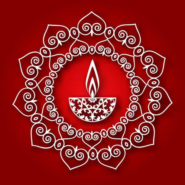 red white rangoli diya Sticker Poster|Diwali Poster|Festival Poster Paper Print