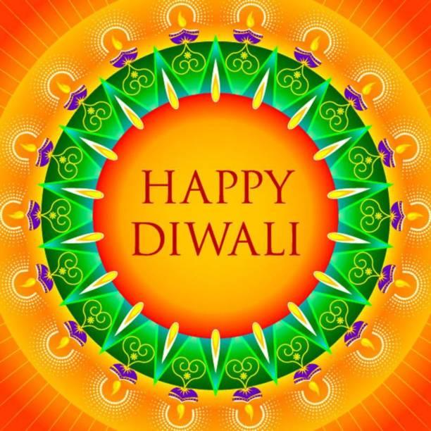 happy diwali with rangoli Sticker Poster|Diwali Poster Paper Print