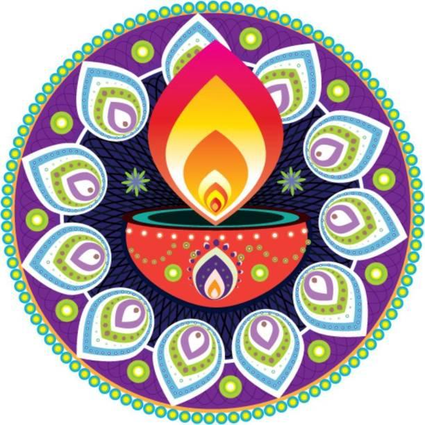 KD colorful diya rangoli Sticker Poster|Diwali Poster Paper Print