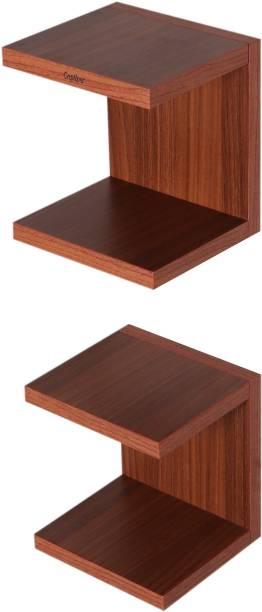 Captiver Unseen Wall Mounted Books Shelf Set of 2 Classic Walnut 16X15X18 cm Particle Board Wall Shelf