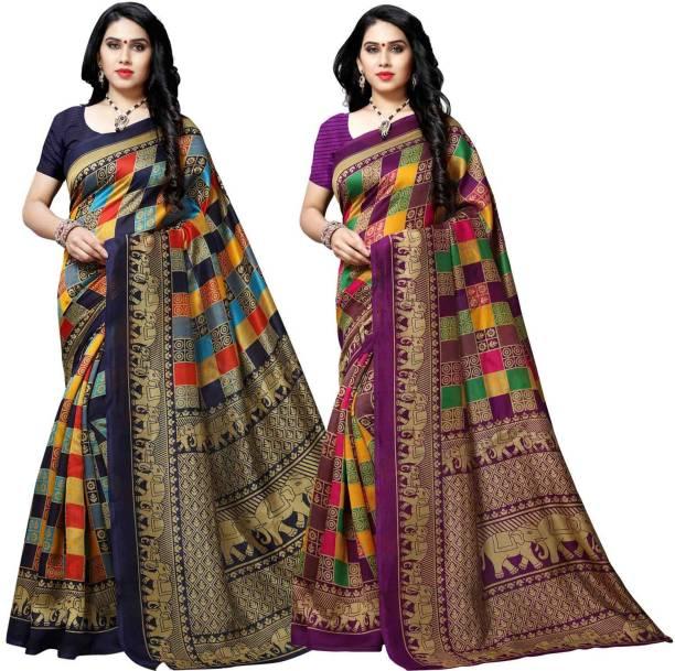 kashvi sarees Printed Bhagalpuri Silk Blend Saree