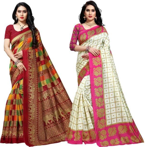 Anand Checkered, Printed Mysore Silk Blend Saree