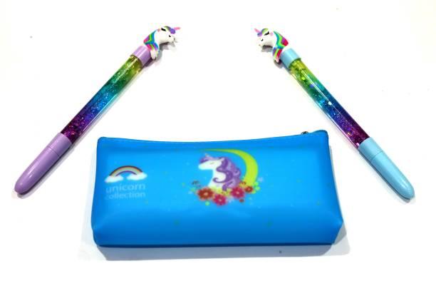 Crazycute Silicon Pencil pouch Unicorn Design 1 Pouch And 2 Unicorn Magic Water Gel Pen School Set