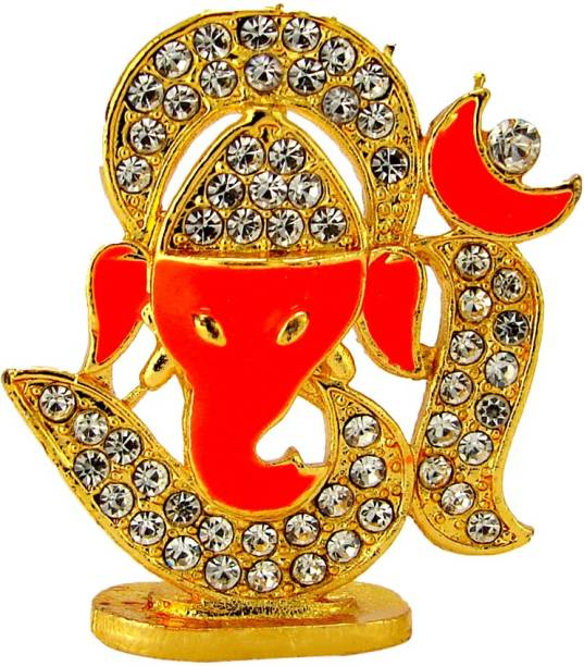 Le Exotica Lord Ganesha & Holy Symbol Om Idol With Golden Electroplating for worship & Gain Prosperity Religious Decoration for Home or office and gift for Vastu and Car Dashboard Decorative Showpiece  -  4 cm