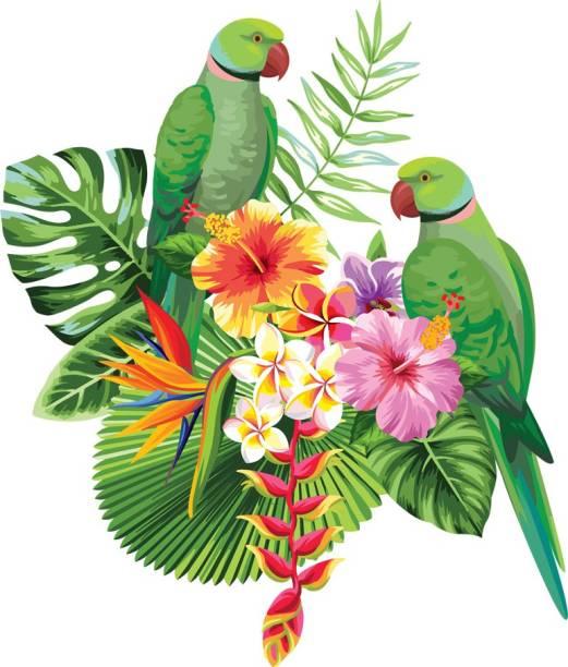 god & god's Medium Beautiful Flower And Love Couple Parrot Wall Sticker