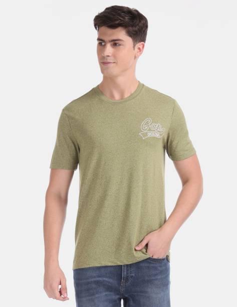 GAP Solid Men Round Neck Green T-Shirt