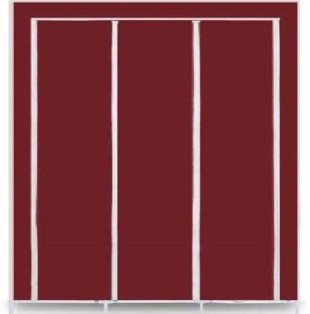 GeTrex 3-Door Foldable Wardrobe, 8 Racks Metal 3 Door Wardrobe