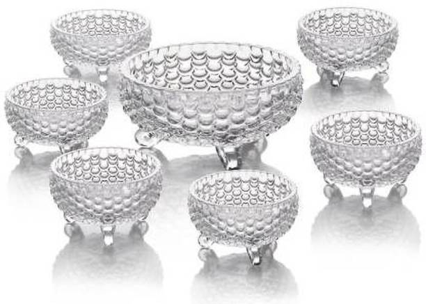 Qianli Decorative hot selling Pineapple Shaped crystal glass bowl set of 7 Glass Dessert Bowl