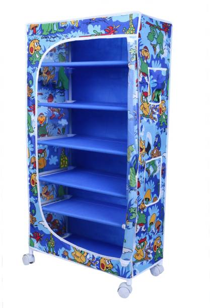 LITTLE ONE'S 6 Shelves Powder Coated Carbon Steel Collapsible Wardrobe
