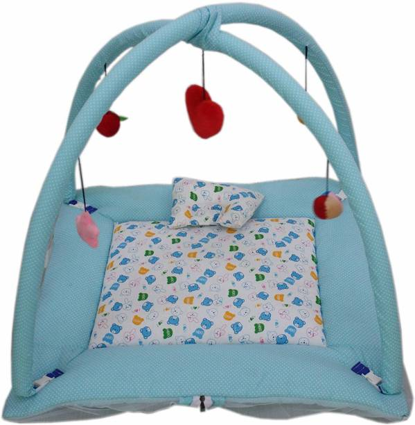 little monkeys Infant Baby Bedding Set with Mosquito Net | Newborn Play Gym with Hanging Toys | New Born Infants Machardani Sleeping Bed; cotton, 0-12 Months,