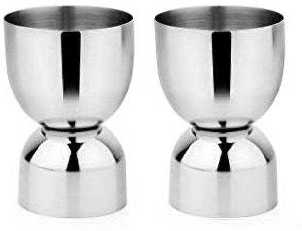 Dynore Stainless Steel Set of 2 Damru peg measure Decanter