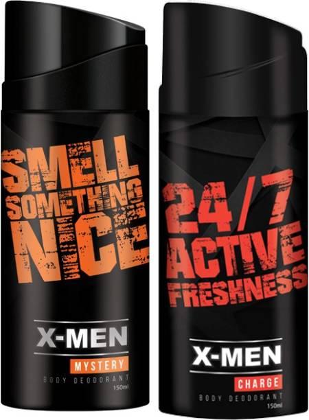 X-Men Deodorant Spray Mystery+Charge (Pack Of 2 X 150 ml) Deodorant Spray  -  For Men