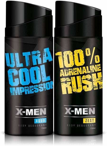 X-Men AQUA+ZEST (PACK OF 2 X 150 ml) Deodorant Spray  -  For Men