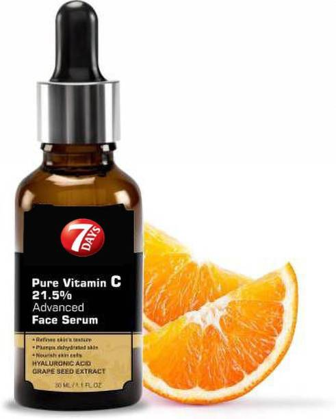 7 Days Vitamin C Skin Brightening, Anti Aging, Spotless Skin,Sun Protection, Under Eye Circles, Facial Serum with Vitamin E and Hyaluronic Acid