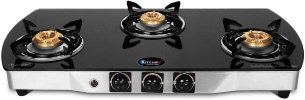 Kitchnx Toughened Glass Stainless Steel Automatic Gas Stove