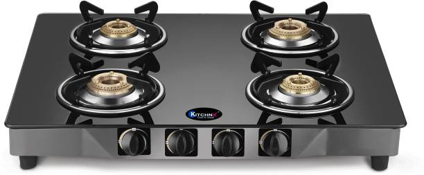 Kitchnx Toughened Glass /LPG Gas Stove/Cook-Top/Glass-Top/4 Burner Steel Manual Gas Stove