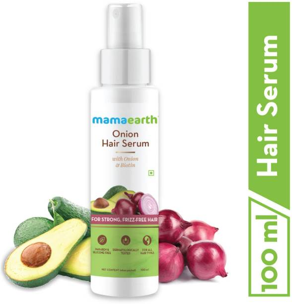 MamaEarth Onion Hair Serum For Silky & Smooth Hair, Tames Frizzy Hair, with Onion & Biotin for Strong, Tangle Free & Frizz-Free Hair
