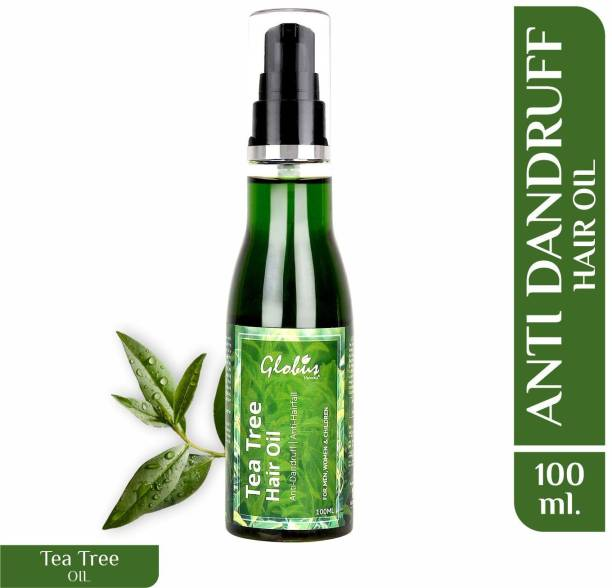 GLOBUS NATURALS Tea tree Hair Oil for Dandruff & Itchy Scalp Conditions, With 14 Ayurvedic Herbs, 100% Natural & Organic, SLS Free, Paraben Free Hair Oil