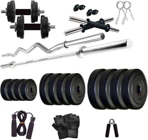 Star X 8 kg PVC weight with 3ft Curl Rod and 5ft Straight Rod and Accessories Home Gym Combo
