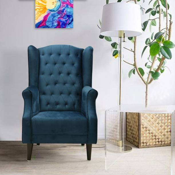 Flipkart Perfect Homes Beleza Tufted Blue Wing Chair Solid Wood Living Room Chair