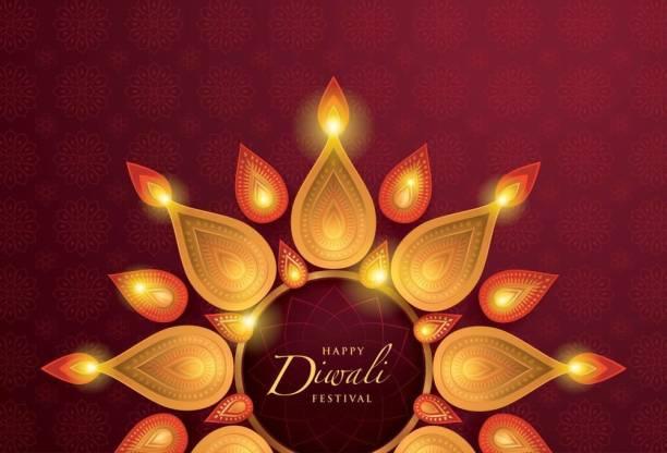 happy diwali in rangoli PosterDiwali PosterFestival Poster Paper Print
