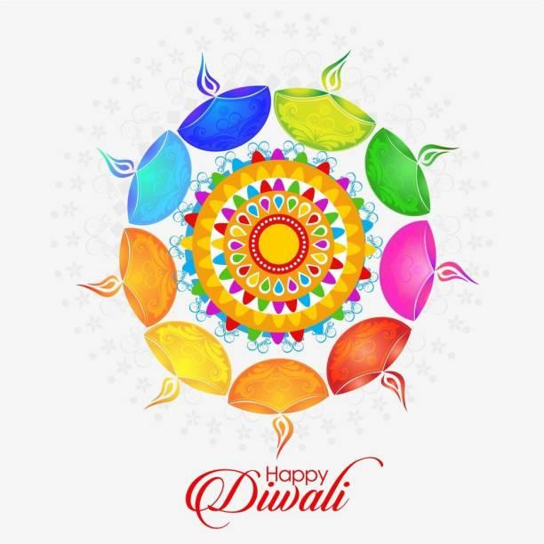rangoli with diwali Sticker Poster|Diwali Poster|Festival Poster Paper Print