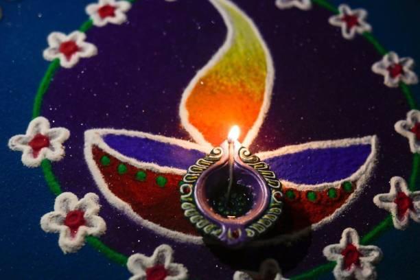 KD oil lamps lit on colorful rangoli Sticker Poster|Diwali Poster Paper Print