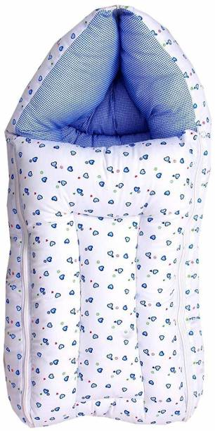 little monkeys 3 in 1 Multi Usage Baby Cotton Bed Cum Sleeping Bag, Baby Wrapper, 0-6 Months Sleeping Bag