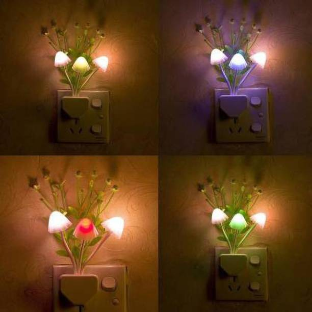 LooksGood Mushroom Color Changing ,Multi Color Led Sensor Flower Night Lamp for bedroom (11 cm, Multi color) ( Pack of 4 ) Night Lamp