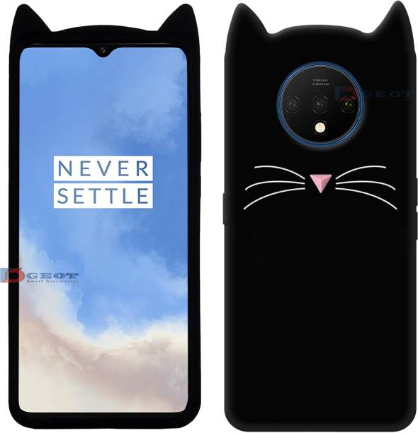 Dgeot Back Cover for OnePlus 7T Mustache Meow Soft Silicone Cute 3D Cartoon Cat Ear Kitty ♥Black♥