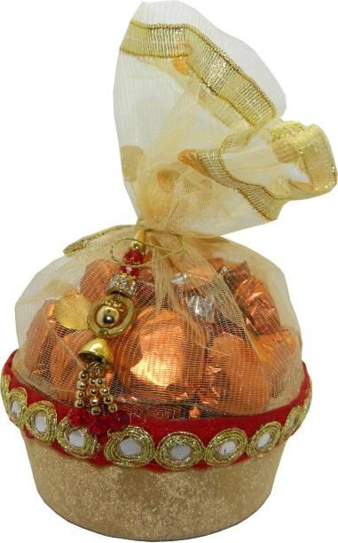 Rich'U Chocolates GOLDEN COLOR ROUND SHAPE CHOCOLATE GIFT BASKET - 20 Pcs Bars