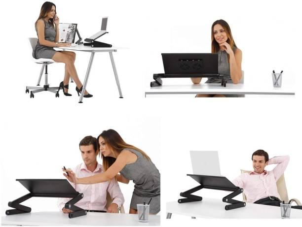 ROQ T8 LAPTOP TABLE WITH FAN ADJUSTABLE HIGHT AND SHAPE LOCKING FEATURE 2 Fan Cooling Pad