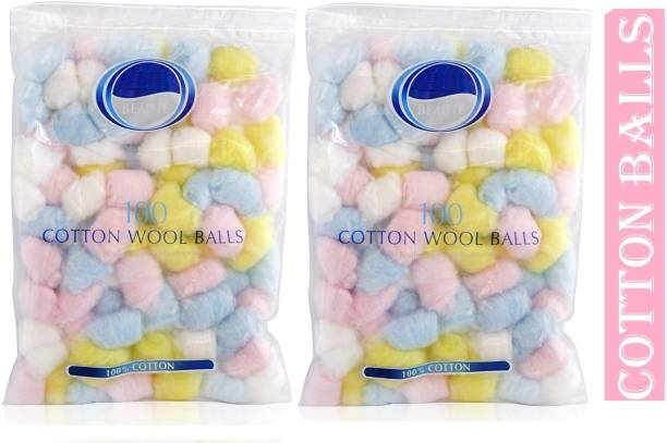 TruOm Color Cotton Balls Pack of 2 (36 X 2) For Makeup & Face Cleansing (72 Units)