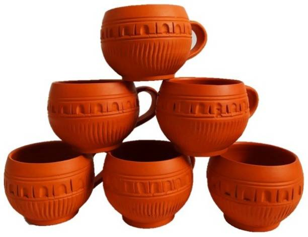 SPK Pack of 6 Terracotta Handmade Terracotta Traditional Tea/Coffee Cups,6.5X6 cm, Brown-Set of 6