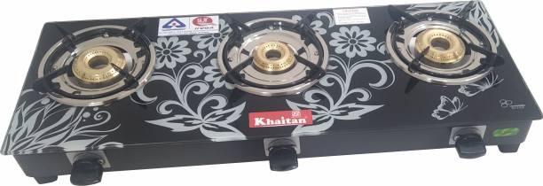 Khaitan 3 Burner JIO DIGITAL Glass Manual Gas Stove