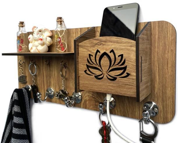 Aquatic Craft 1 Shelf MH-Flwr(YB) Wood Key Holder