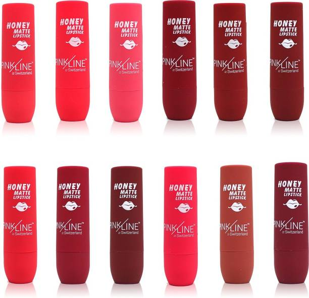 Pinkline Honey Matte Lipstick PL1007B-1-2-3-4-5-6-7-8-9-10-11-12 stylish,,Magenta,Rich Red,Hot Red,Royal Red,Siren Red,Antique Red,Light Maroon,Soft Pink,Waist,Rum, 45.6gm