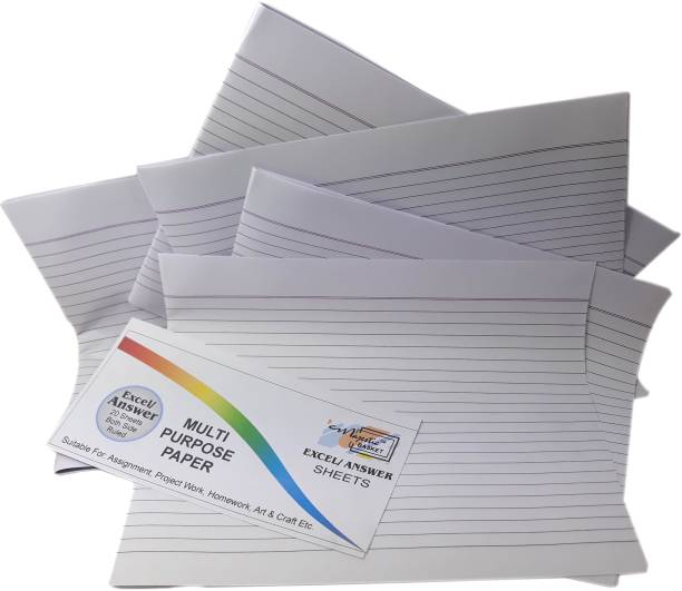 MAJESTIC BASKET White Premium Quality Accounts/ Ledger /Excel /Project /Answer Sheets [Pack of 100 Sheets ] Both Side Ruled Lines 8.5x10.5 80 gsm Multipurpose Paper