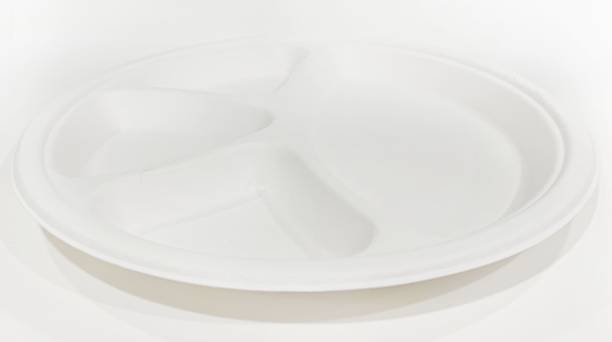 Ambassador TWI-Biodegradable Disposable Sugarcane Bagasse Paper Pulp Molded Tray Round Plates 11'' Inches 4 Compartment (Eco Friendly) Pack of 25 Dinner Plate