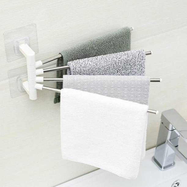 FLYNGO Self Adhesive Stainless Steel 180 Degree Rotating 4 Arm Towel Holder for Washbasin Napkin Hanger for Kitchen Towel Bar Rack for Bathroom white Towel Holder