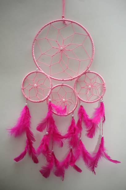 Ryme Pink Color 4 Rings Dream Catcher Wall Hanging For Home / Office Wool Dream Catcher